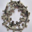 "Picasso Jasper 16x16 Cross Beads 15"" strand"