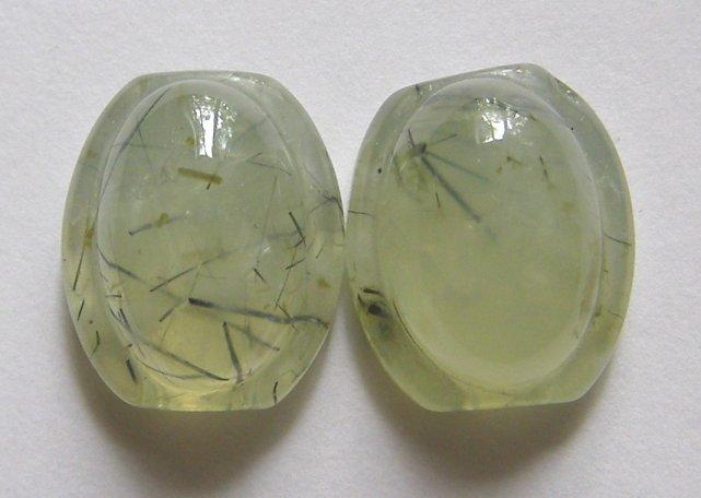 2 Prehnite 18x15 Carved  Beads
