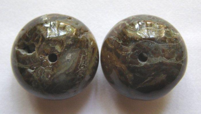 2 Snakeskin Agate 21x14 Rondelle Pendant Beads