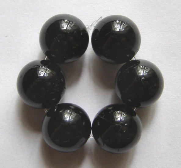 6 Black Tourmaline 13mm Round Beads