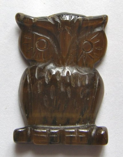 Tiger  Eye Carved Owl Pendant Bead