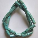 "Turquoise 12x7 Hexagonal Tube Beads 16"" strand"