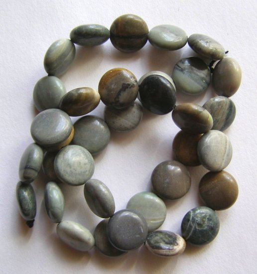 "Oregon Jasper12x6 Coin Beads 16"" strand"
