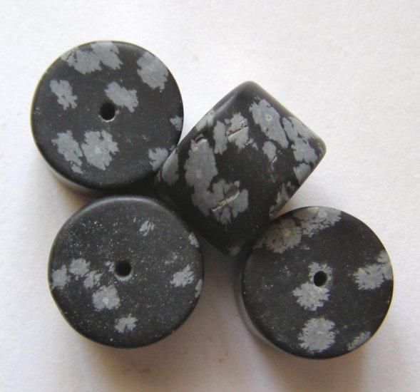 4 Snowflake Obsidian 16x12 Drum Beads