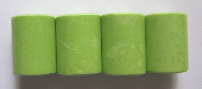4 Lime Green Magnesite 20x15 Cylinder Pendant Beads