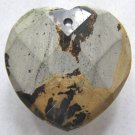 Nature's Paintbrush Jasper 33x33 Faceted Heart Pendant Bead