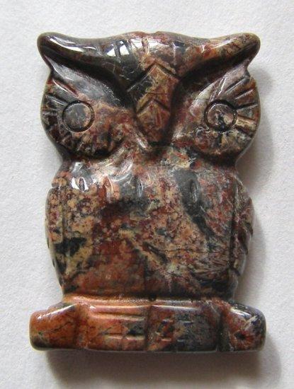 Poppy Jasper 32x23 Carved Owl Pendant Bead
