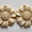 2 Carved Bone 24x25 Daisy Beads