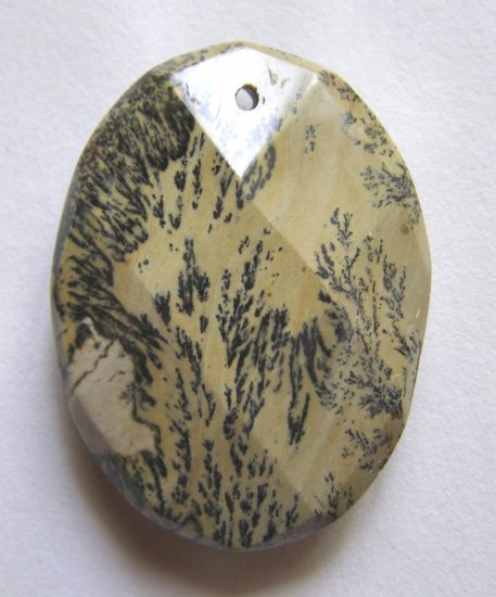 Nature's Paintbrush Jasper 39x30 Faceted Oval Pendant Bead