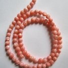 "Salmon Pink Mother of Pearl 5mm Round Beads 16"" Strand"