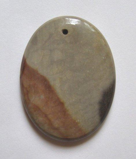 American Picture Jasper 42x32 Oval Pendant Bead