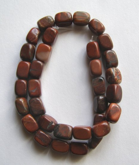 "Red Jasper 12x8 Rectangle Beads 16"" strand"