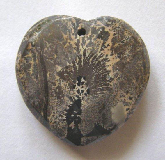 Nature's Paintbrush Jasper Faceted Heart Pendant Bead