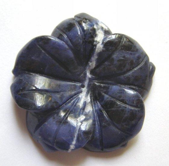 Sodalite 45x45 Carved Flower Pendant Bead
