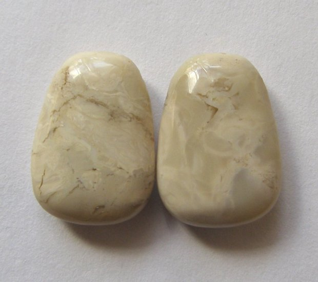 2 White African Opal 25x18 Ladder Pendant Beads