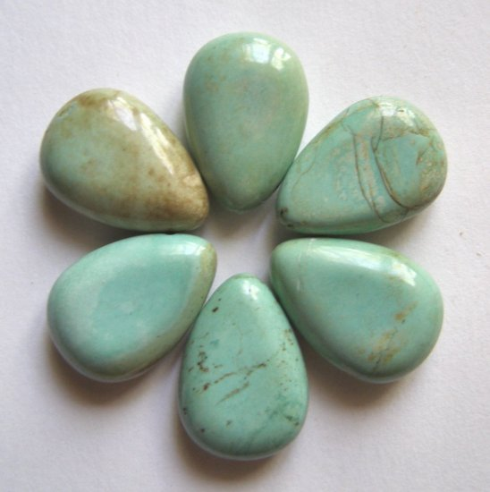 6 Turquoise 25x18 Teardrop Pendant Beads