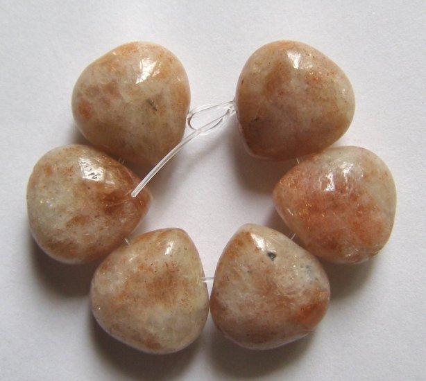 (6) SUNSTONE 14x13 Teardrop Beads