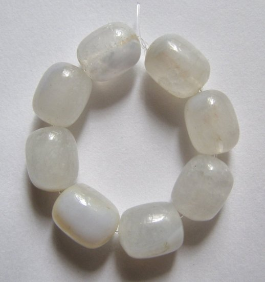 8 Blue Chalcedony 13x10 Barrel Beads