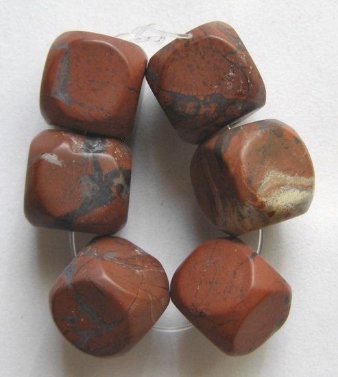 6 Brecciated Jasper 12x12 Cube Pendant Beads