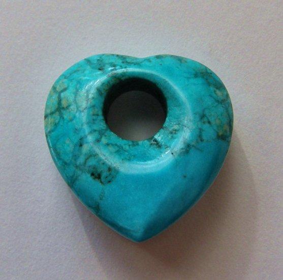 Turquoise Magnesite 24x25 Heart Pendant Bead