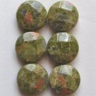 6 Unakite 15x6 Faceted Coin Beads