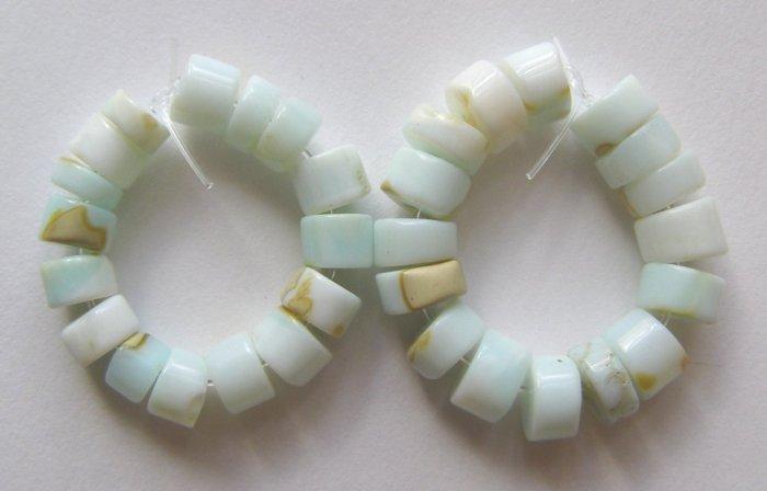 Blue Peruvian Opal  6x4 and 5x3 Wheel Beads