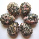 6 Rhodonite 20x15 Faceted Teardrop Beads