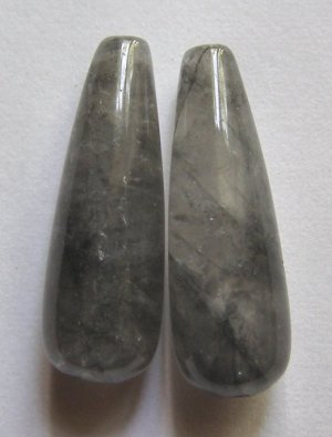 2 Grey Quartz 30x10 Full Teardrop Pendant Beads