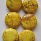 6 Goldenrod Magnesite 11mm Puffy Coin Beads