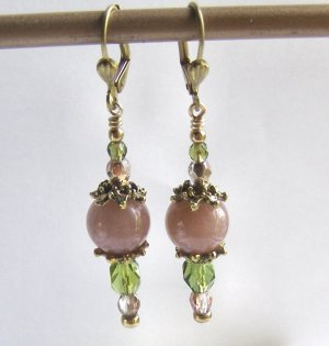 Peach Aventurine and Faceted Crystal Artisan Made Earrings