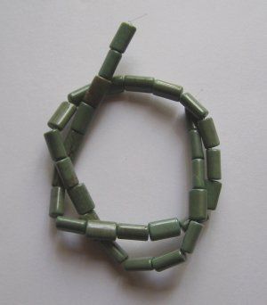 "Green Turquoise 12x5 FlattenedTube Beads 15.5"" Strand"