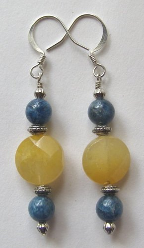 Faceted Citrine and Apatite Artisan Made Earrings