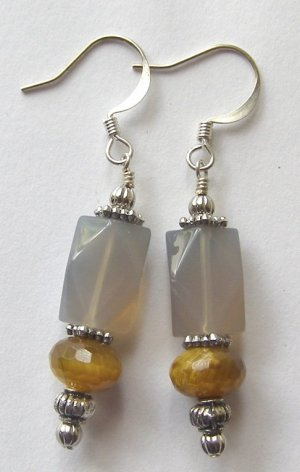 Faceted Blue Chalcedony and Tiger Eye  Artisan Made Earrings