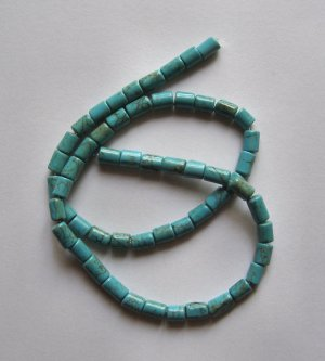 "Blue Turquoise 8x5 Short  Tube Beads 15.5"" Strand"