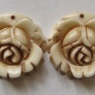 2 Carved Bone 20x20 Rose Beads