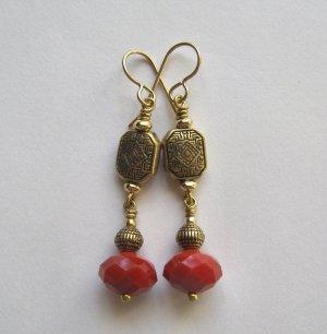Red Velvet Crystal and Brass Artisan Made Earrings