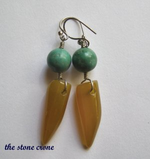 Turquoise and Yellow Agate Horn Amulet Artisan Made Earrings