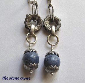 Blue Coral and Vintage Silver Artisan Made Earrings