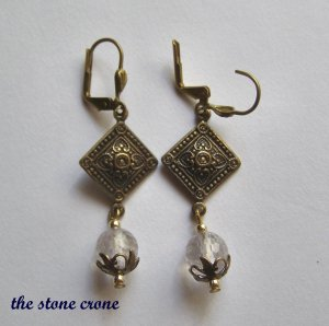 Amethyst  and Vintage Brass Artisan Made Earrings