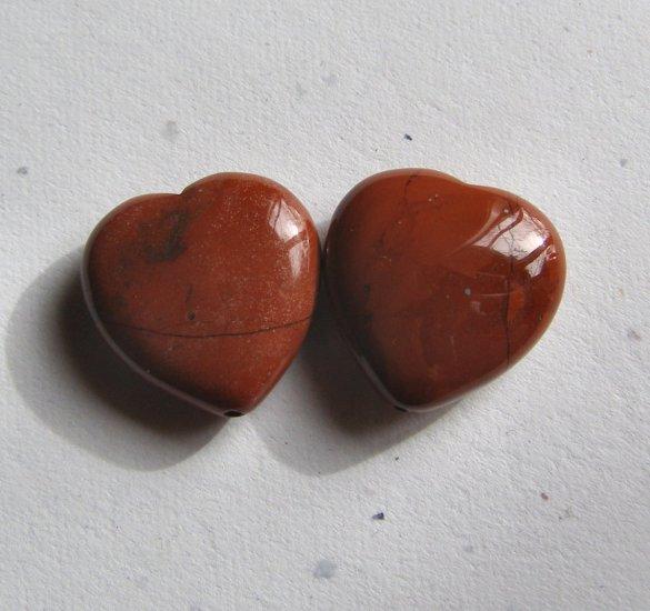 2 Red Jasper 20x20 Heart Pendant Beads