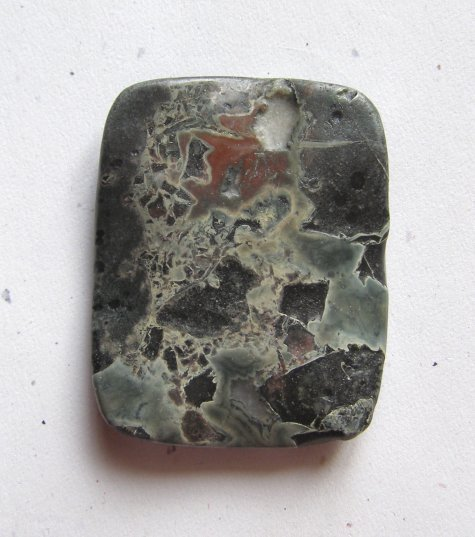 Military Jasper 51x40 Wavy Rectangle Pendant Bead