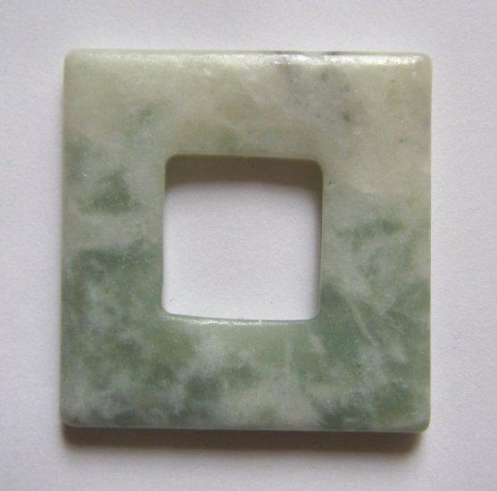 Flower Jade 40x40 Square Frame Pendant Bead