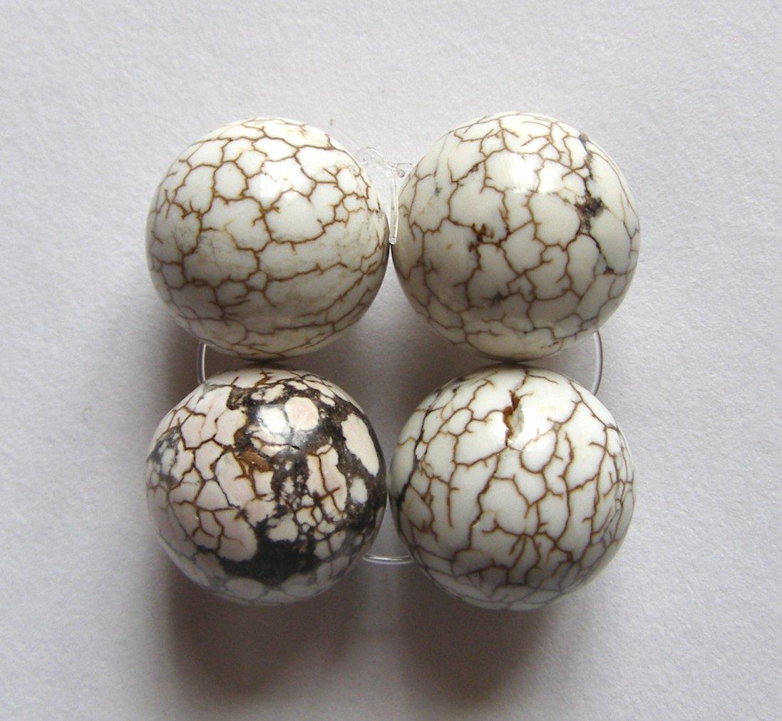 4 White Turquoise Magnesite 16mm Round Beads