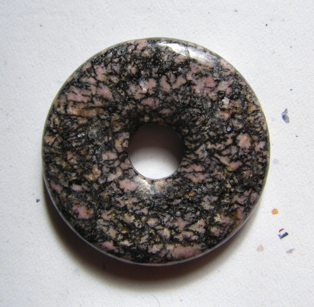 Rhodonite 42mm Donut Pendant Bead