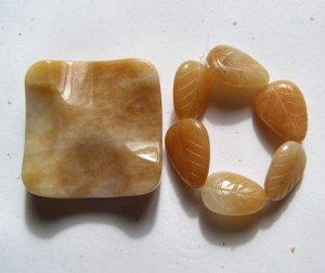 Peach Aventurine Square Pendant Bead Set
