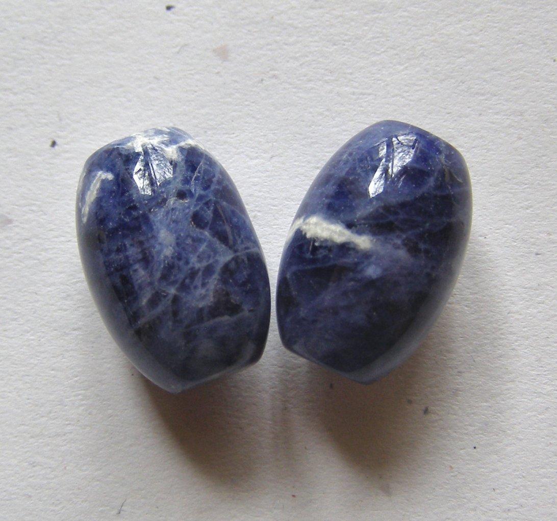 2 Sodalite 22x15 Barrel Focal Beads