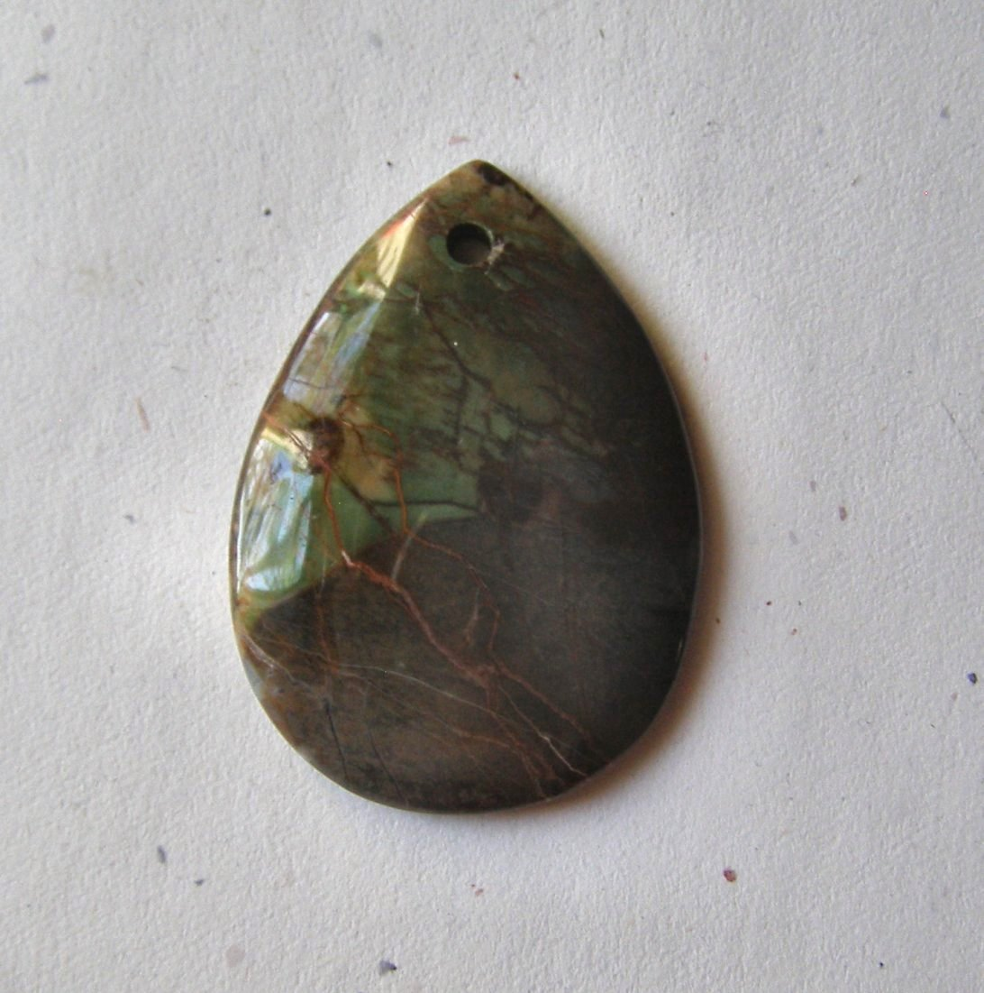Peacock Vista Jasper 51x36 Teardrop Pendant Bead