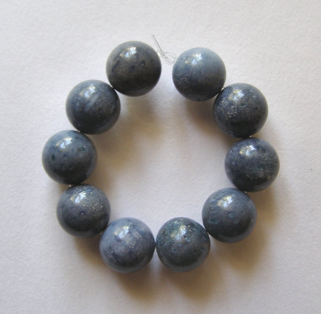 10 Blue Coral 10mm Round Beads
