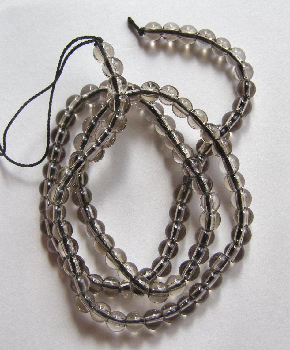 """Light Smoky Quartz 4mm Round Beads 16"""" strand"""