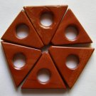 6 Red Jasper 19x23 Triangle Frame Beads
